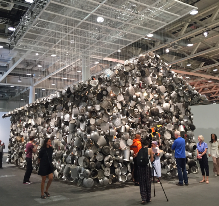 Subodh Gupta, Cooking the World (2017), via Art Observed