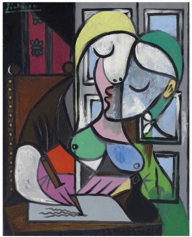 Pablo Picasso, Femme écrivant (Marie-Thérèse) final price £34885000, via Christies