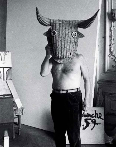 Edward Quinn, Picasso wearing a bull's head intended for bullfighter's training, La Californie, Cannes (1959), courtesy of Gagosian