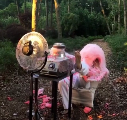 A Steven Shanabrook cotton candy performance, via Art Observed