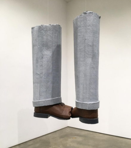 Jim Shaw, Dream Object(Hanging legs made out of fiberglass with toes bitten off to demonstrate effect of animal traps)(2007), via Art Observed
