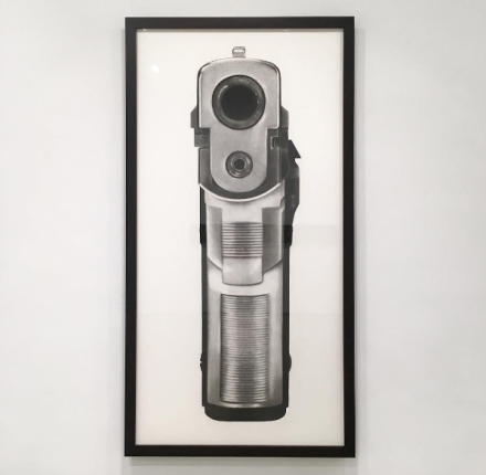 Robert Longo, Untitled (Bodyhammer 9mm) (2008), via Art Observed