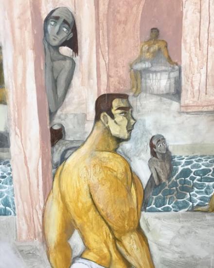 Julien Ceccaldi, Pompeii Bathhouse (detail) (2017), via Art Observed