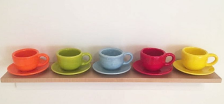 Mary Heilmann, A Row of Cups and Saucers (2017), via Art Observed