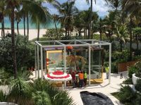 Workers prep the Damien Hirst sculpture at the Faena, via Boomberg