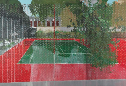 Hurvin Anderson, Country Club Chicken Wire (2008), via Christie's