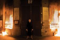 Pavlensky in front of the Bank, via Art Newspaper