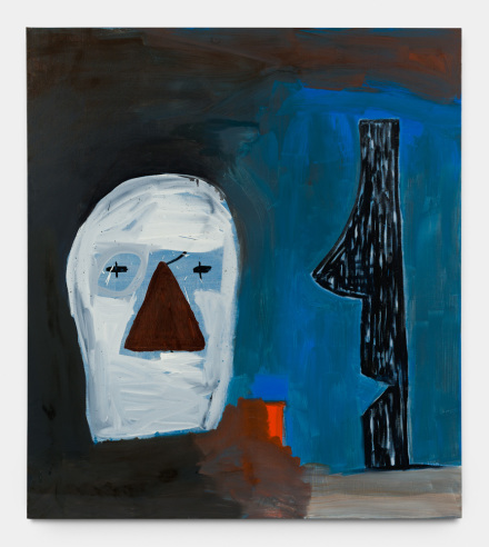 Walter Swennen, Face & profil, 2017 Oil on canvas 67 x 59 1:2 inches Copyright Walter Swennen Courtesy the artist and Gladstone Gallery, New York and Brussels.