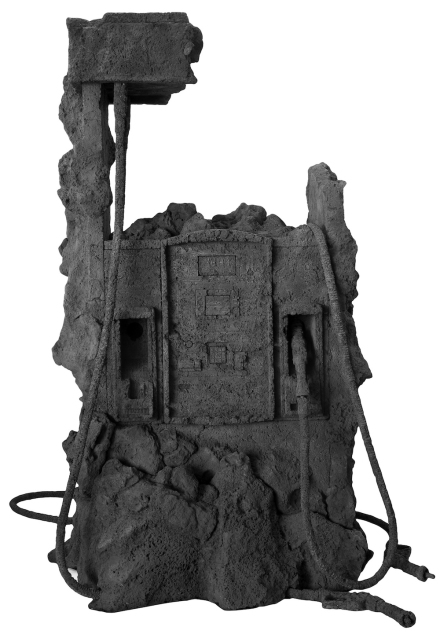 Jennifer Allora & Guillermo Calzadilla, Petrified Petrol Pump (Pemex II), 2011, black lava and travertine stone, 100 x 80 x 80 inches, Courtesy of the artist and kurimanzutto, Mexico City.