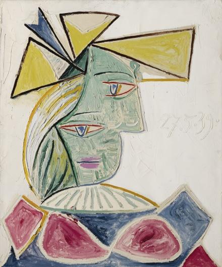 Pablo Picasso, Buste de femme au chapeau (1939), final price 21,679,000 via Sotheby's
