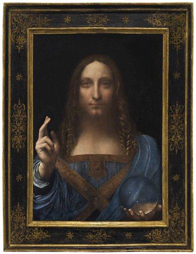 Leonardo da Vinci, Salvator Mundi (circa 1500) final price $450,312,500, via Christie's