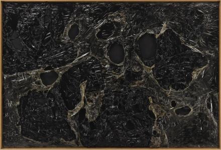 Alberto Burri, Nero Plastica L.A (1963), final price $10,953,500, via Sothebys