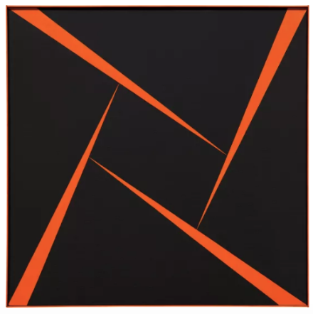 Carmen Herrera, Untitled (Orange and Black) (1956), final price $1,179,000, via Phillips