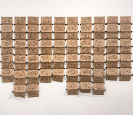 Geta Bratescu, The Leaps of Aesop (Installation View), via Art Observed.