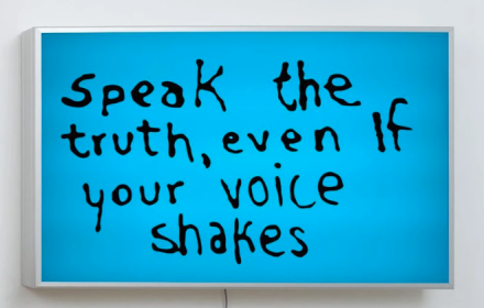 Sam Durant, Speak The Truth Even If Your Voice Shakes (2015), via Blum & Poe
