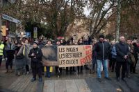 Spanish demonstrators protest outside of the Lleida Museum, via Art Newspaper