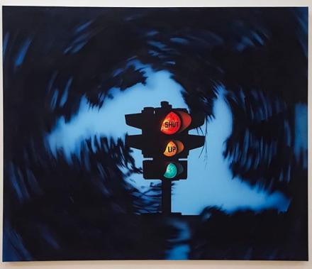 Jamian Juliano-Villani, Shut Up, The Painting (2018), via Art Observed
