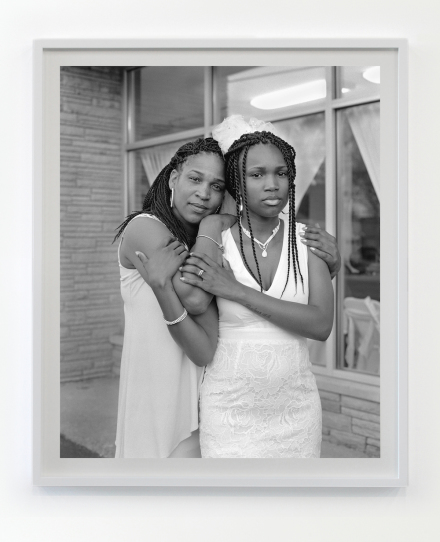 LaToya Ruby Frazier, Andrea Holding her daughter Nephratitioustide the Social Network Banquet Hall 2016 / 2017 Gelatin silver print 24 x 20 inches 28 x 24 inches framed Edition of 5 with 2 APs