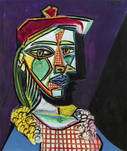 Pablo Picasso, Femme au béret et à la robe quadrillée (Marie-Thérèse Walter) (1937), via Sotheby's