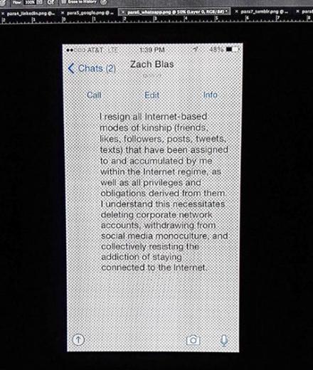 Zach Blas, Contra-Internet (Installation View), via Art Observed