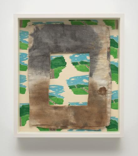 Robert Gober, Stained Diaper on Wallpaper (1979-2017), via Matthew Marks