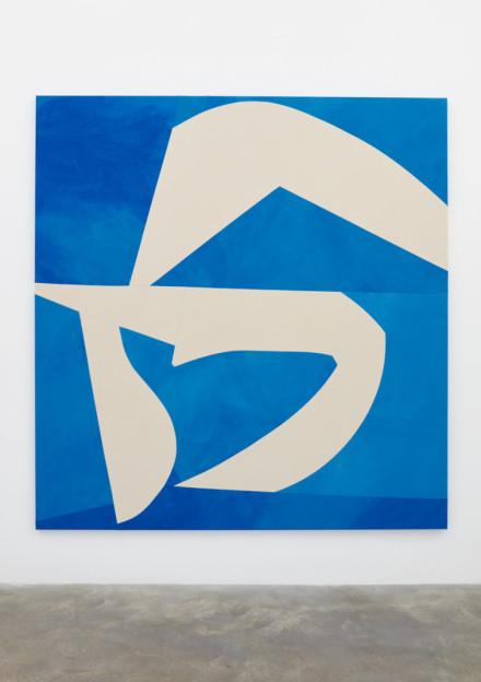 Sarah Crowner, Sliced Shapes, Blue Background (2018), via Casey Kaplan