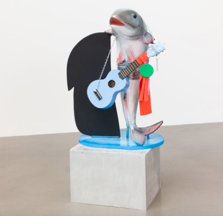 Cosima von Bonin, WHAT IF IT BARKS 5 (PETITE VERSION WITH BLUE UKELELE) (2018), via Petzel