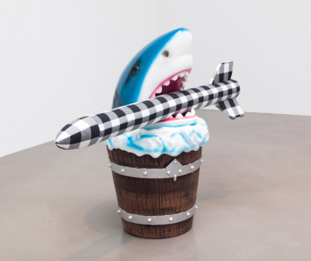 Cosima von Bonin, WHAT IF IT BARKS 8 (SHARK DUST BIN VERSION I) (2018), via Petzel