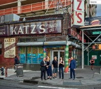 Artists outside Katzs, via NYT
