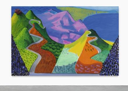 David Hockney, Pacific Coast Highway and Santa Monica (1990), via Sothebys