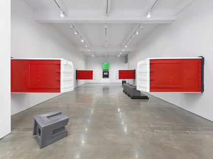 Andreas Slominski.  Installation view, 2018.  Metro Pictures, New York.  Courtesy of the artist and Metro Pictures, New York.  Photo: Genevieve Hanson.