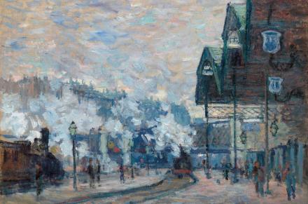 Claude Monet, La Gare Saint-Lazare, vue extérieure (1877), via Christie's