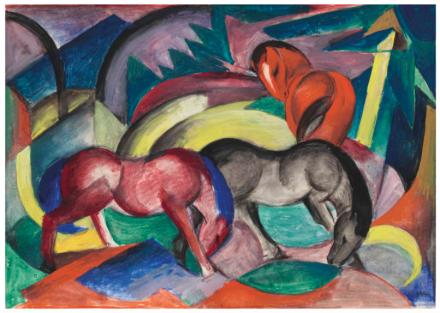 Franz Marc, Drei Pferde (1916), via Christie's