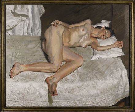 Lucian Freud, Portrait on a White Cover (2002-2003), via Sotheby's