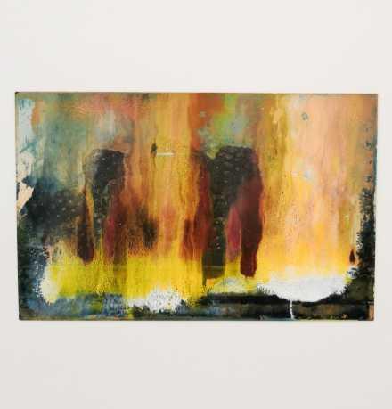 Tacita Dea, Found Postcard Monoprint (Mûrs) (2018), via Art Observed