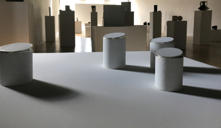 Peter Fischli, Cans, Bags and Boxes (Installation View), via Reena Spaulings