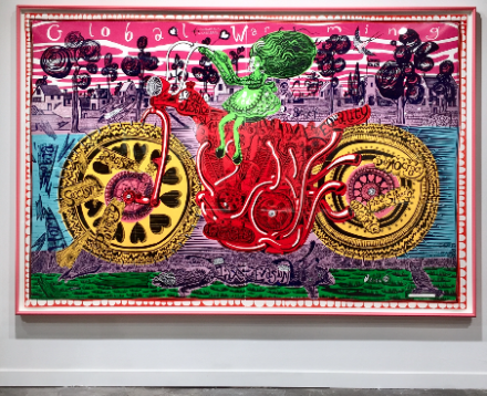 Grayson Perry, Selfie with Political Causes (2018), via Andrea Nguyen for Art Observed