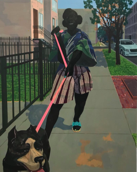 Kerry James Marshall, Untitled (Dog Walker) (2018), via Art Observed