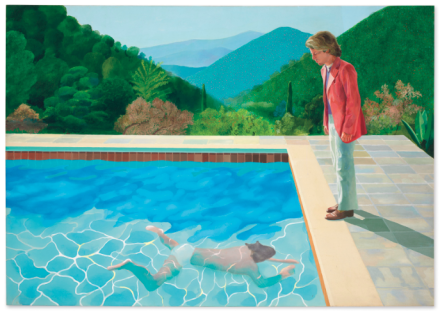 David Hockney, Portrait of an Artist (Pool with Two Figures) (1972), Final Price $90,312,500, via Christie's