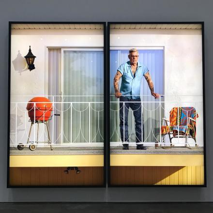 Rodney Graham, Tattooed Man on Balconey (2018), via Art Observed