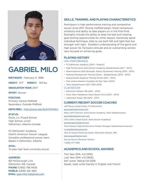 player profile gabriel milo college sports recruiting