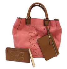Orla Kiely Stem Leather Willow Bag in Pink with Flat Zip Wallet in Toffee