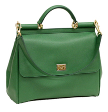 Take Home this Elegant Large Miss Sicily Leather Satchel from Dolce & Gabbana