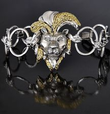 Handmade Gold and Silver Lion Bracelet