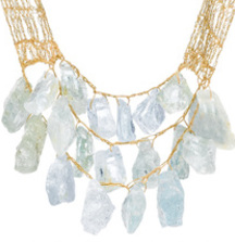 Custom-Made 200-Carat Rare Aquamarine or Amethyst 17th Century Gold Silk Lace Necklace Designed by Artist & Fine-Jeweler SHIRLEY EPHRAIM