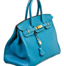 Coveted New Hermès Birkin Bag in Blue Izmir Clemence Leather