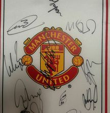 Team Signed 2008-2009 Manchester United Flag with Certificate of Authenticity