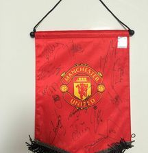 Team Signed Manchester United Flag with Certificate of Authenticity