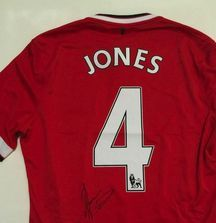 Phil Jones Game Worn and Signed Jersey with Certificate of Authenticity