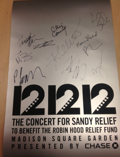 Charitybuzz Limited Edition 12 12 12 Concert Poster Autographed By Hour 4 Celebrity Telethon
